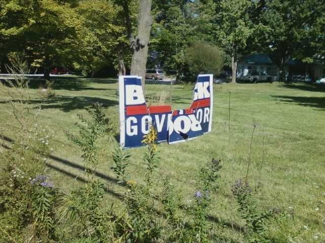 Vandals trash a lawn sign for Vermont Gubernatorial Candidate Randy Brock.