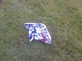 Vandals crumple a lawn sign for Vermont Gubernatorial Candidate Randy Brock.
