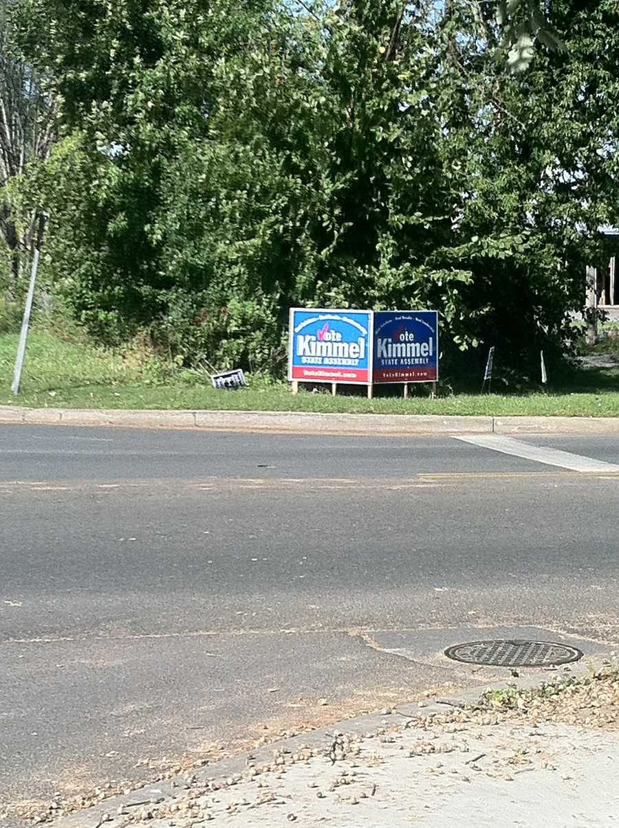 Vote Kimmel signs line Oak St. and Boyton Ave in Plattsburgh.
