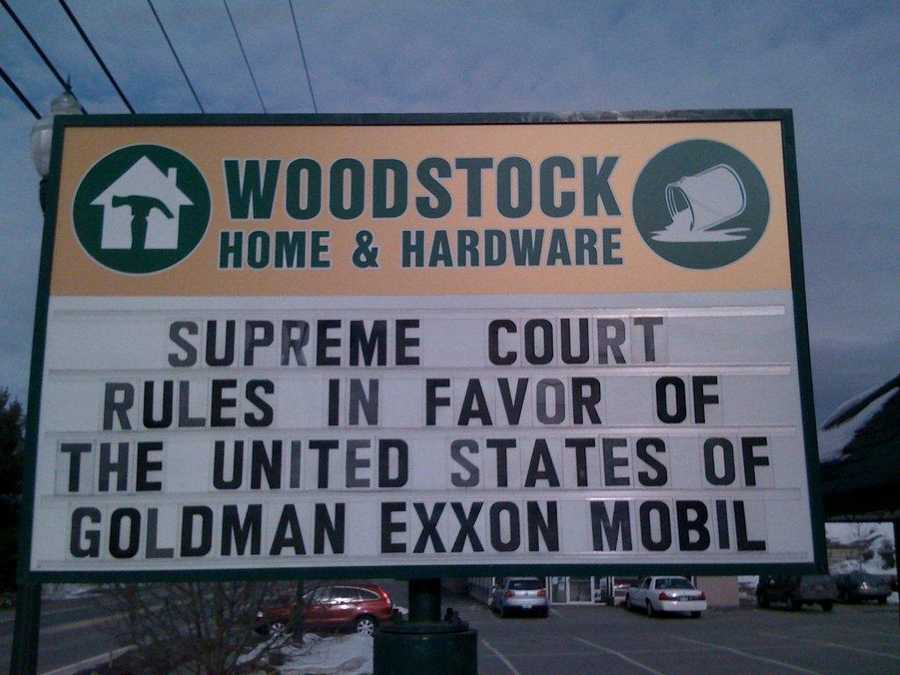 """Supreme Court rules in favor of the United States of Goldman Exxon Mobile""Woodstock Home and Hardware, Woodstock, Vermont"