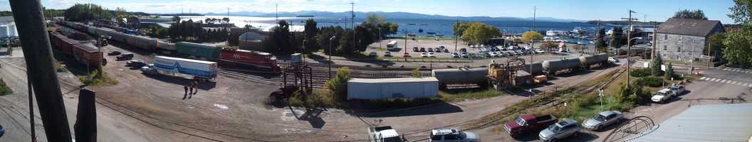 A panorama view of Burlington Waterfront and the Champlain Parkway route.