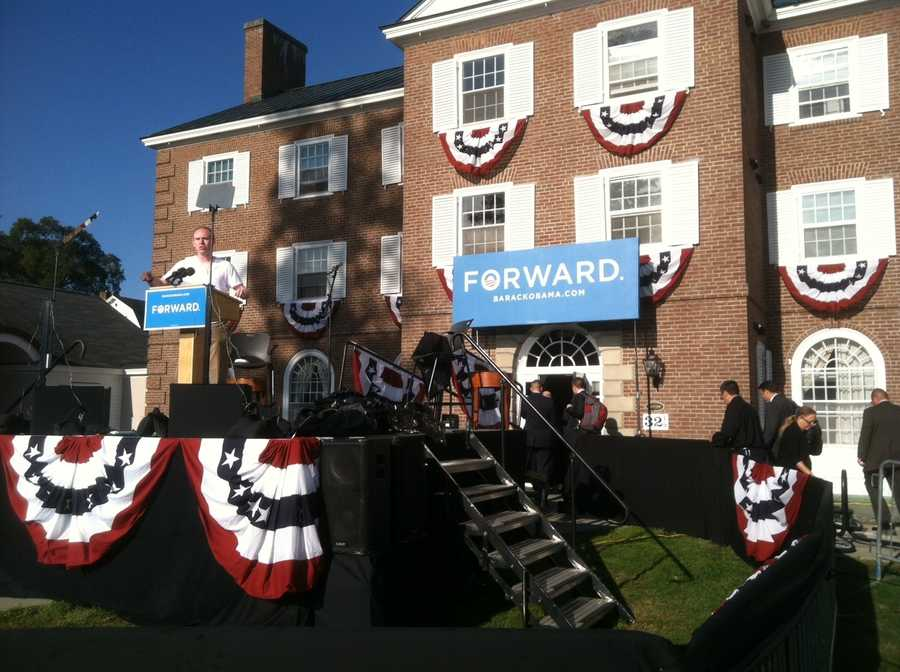 Stage preparations are underway at Dartmouth in New Hampshire.