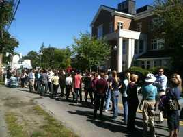 Long line to get in to Joe Biden rally.