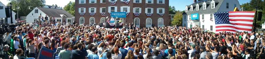 Nearly 1,000 students watch and cheer Joe Biden.
