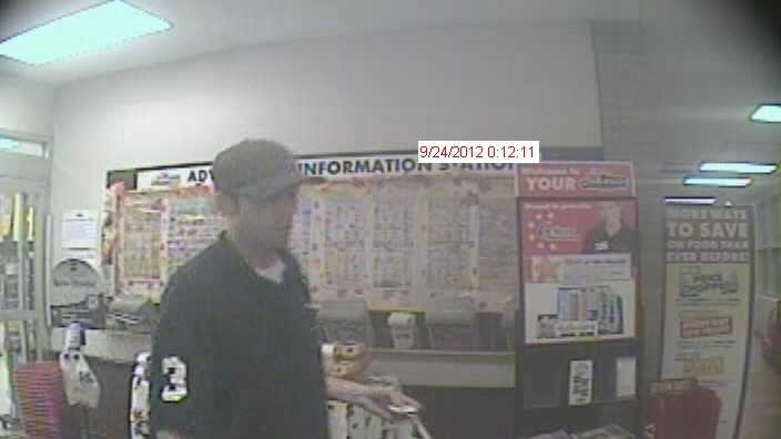 The assailant used the stolen credit cards at multiple locations on Shelburne Road, police said. He was caught on camera leaving the Price Chopper Supermarket.
