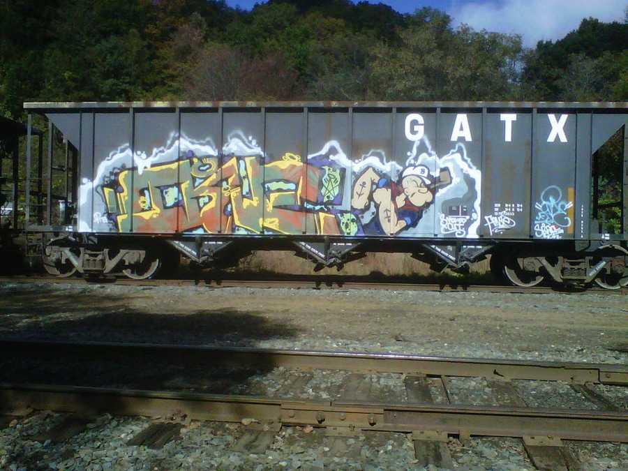 Popeye boxcar graffiti.