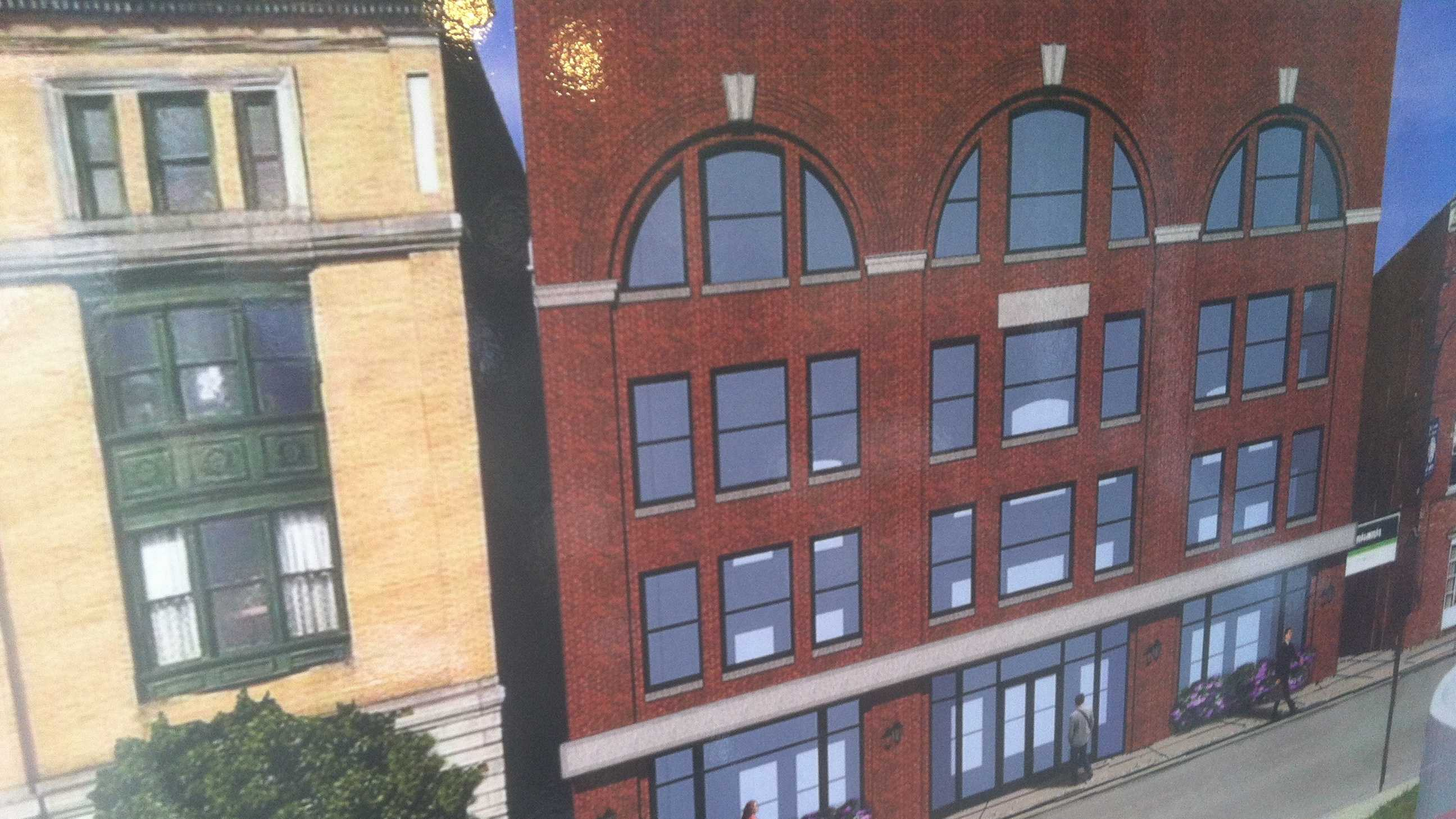 An architect's rendering of the facade of the Blanchard Block in downtown Barre which is expected to see new life as part of a wave of rehabilitation to historic commercial buildings statewide.