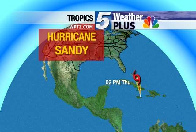 Hurricane Sandy will travel over Jamaica Wednesday night into Thursday.