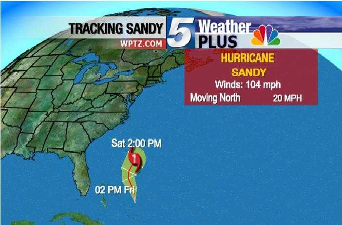 Saturday, 2 P.M: Winds 104 MPH, Moving north at 20 MPH