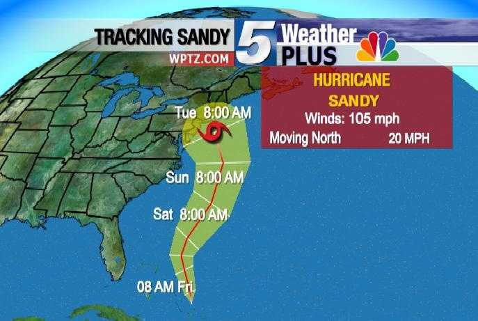Tuesday, 8 a.m.: Winds 105 MPH, Moving north at 20 MPH