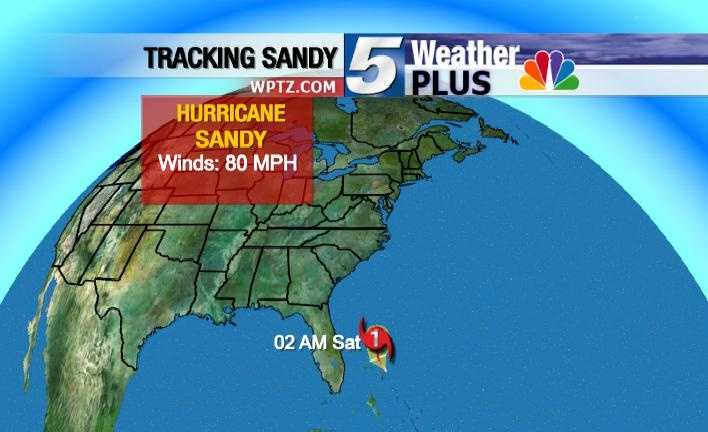 Tracking Hurricane Sandy: Saturday, 2 a.m., winds 80 MPH