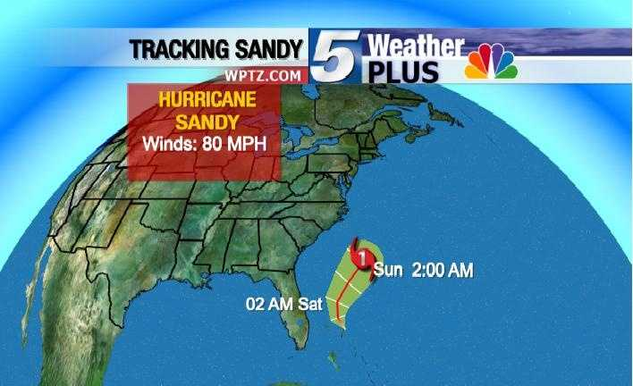 Tracking Hurricane Sandy: Sunday, 2 a.m., winds 80 MPH