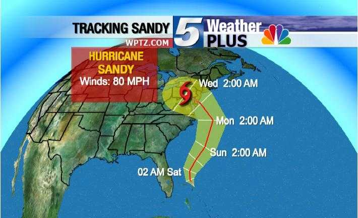 Tracking Hurricane Sandy: Wednesday, 2 a.m., winds 80 MPH
