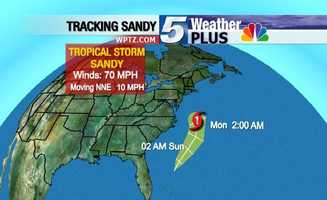 Tracking Sandy: Monday, 2 a.m., winds 70 mph, moving NNE at 10 mph