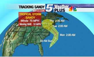 Tracking Sandy: Thursday, 2 a.m., winds at 70 mph, moving NNE at 10 mph.