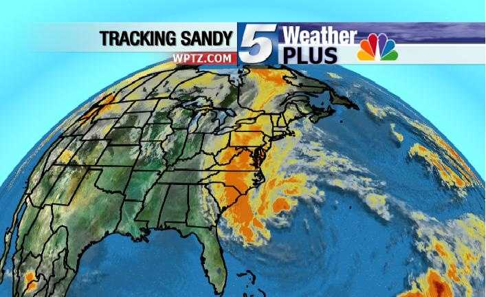 A wide view of Hurricane Sandy.