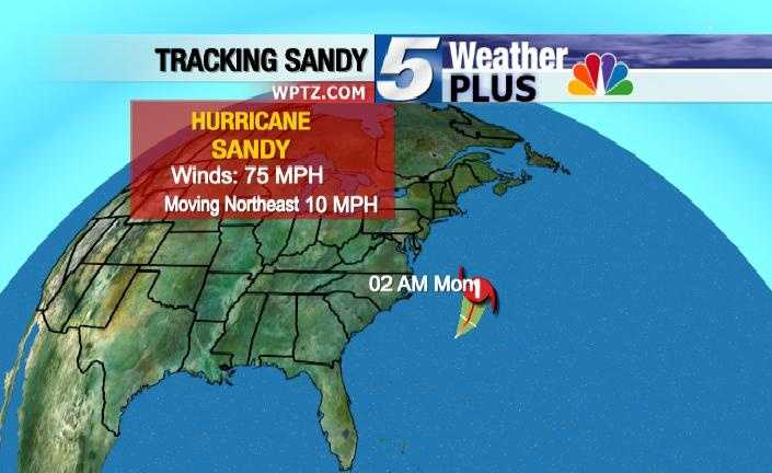Tracking Sandy: Monday, 2 a.m., winds 75 mph, moving northeast at 10 mph.
