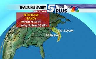 Tracking Sandy: Tuesday, 2 a.m., winds 75 mph, moving northeast at 10 mph.