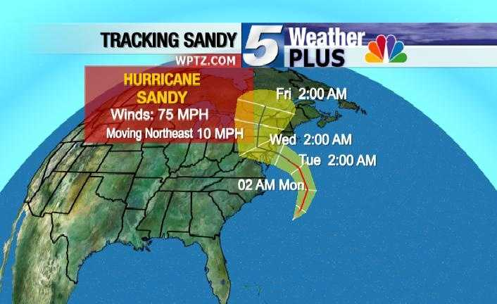 Tracking Sandy: Friday, 2 a.m., winds 75 mph, moving northeast at 10 mph.