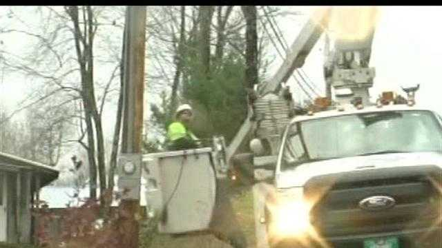 The town of Enfield is working to clean up roads and restore power to hundreds of households.