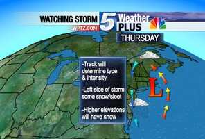 Thursday: Track will determine type & intensity, Leftside of the storm will carry some snow/sleet, Higher elevations can expect snow.