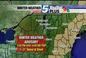 Winter Weather Advisory for 6 p.m. Wednesday through Thursday 8 a.m. 1-to-3 inches of snow and sleet expected.