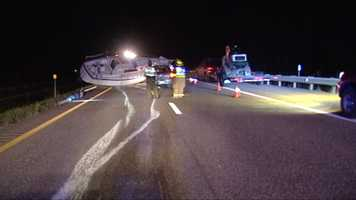 A boat slipped off a trailer and slid down Interstate 89 during Monday evening's commute.
