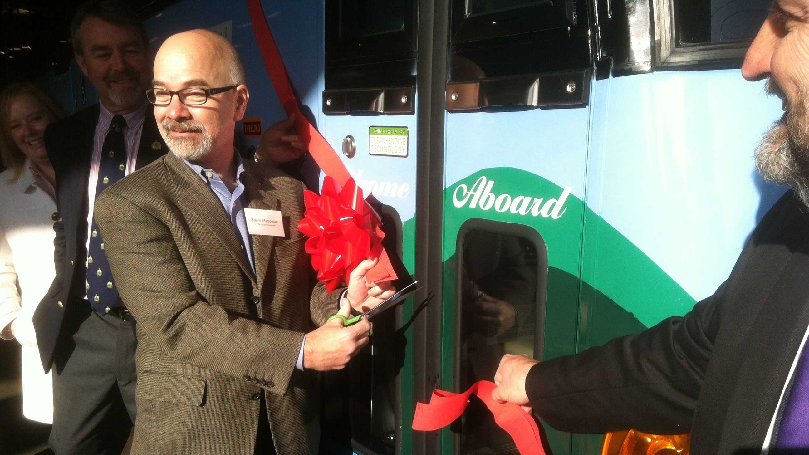 CCTA celebrates delivery of seven new MCI coaches for its LINK Express commuter routes. They debut Monday morning.