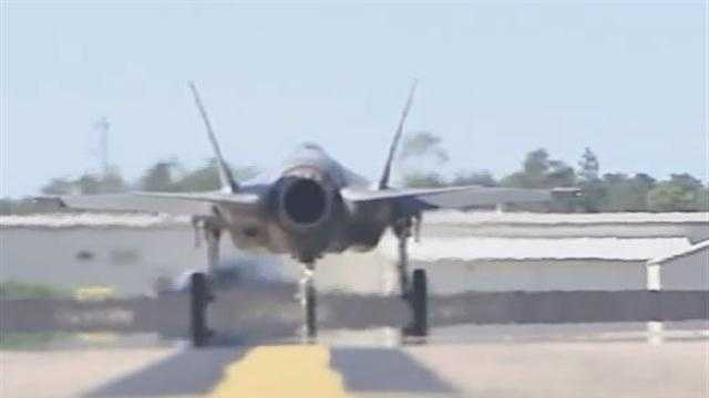 The F-35 fighter at Eglin AFB, Florida.