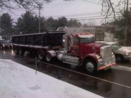 Traffic on Roosevelt Highway, Colchester, backed up.