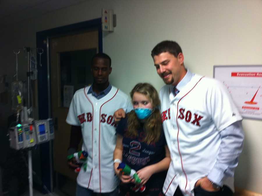 Red Sox catcher Ryan Lavarnway & infielder Pedro Ciriaco pose for a photo.