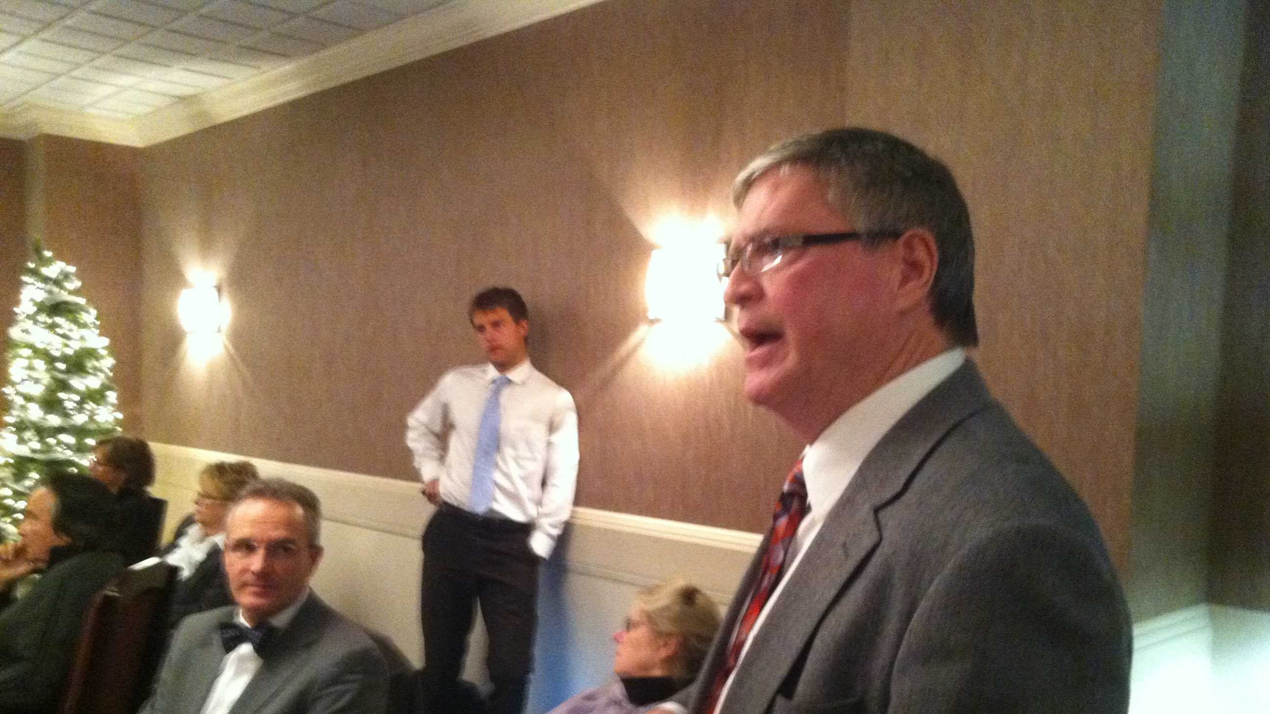 Sen. John Campbell addresses the Democratic caucus in Montpelier Tuesday.