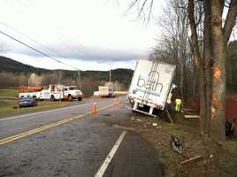 The driver of a semi-truck sustained minor injuries in a crash Monday morning. The crash shut down a portion of Route 103 in Chester.