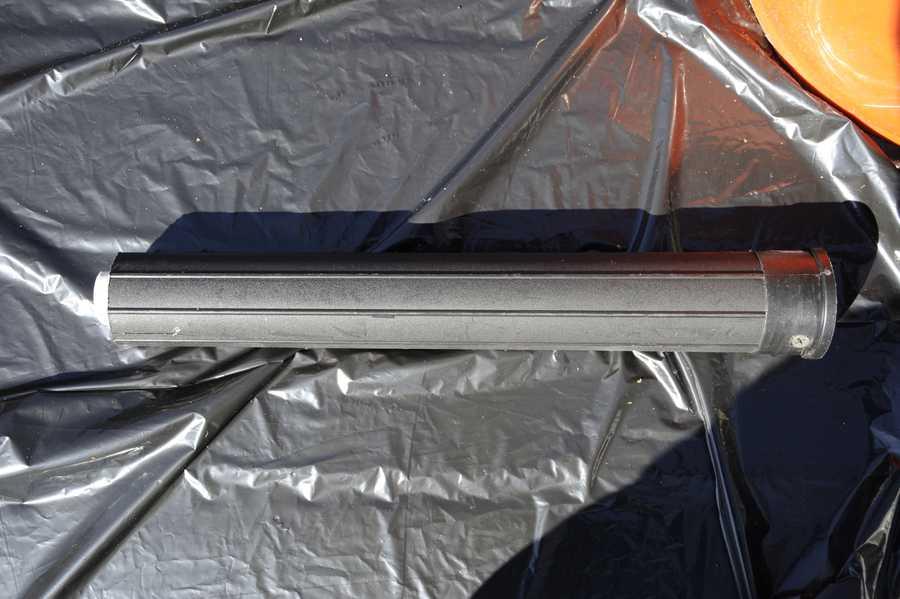 A silencer was found inside the bucket found hidden in Parishville, N.Y.