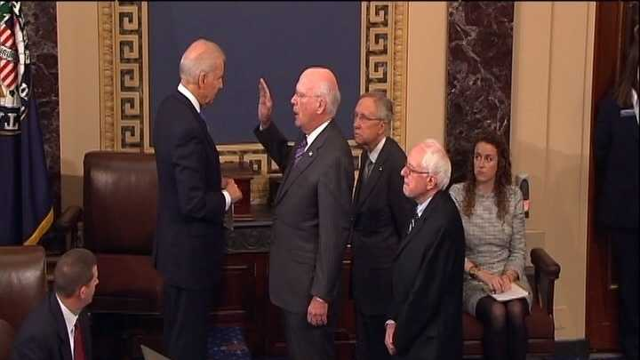 Vice-President Joe Biden administers oath to Vermont Sen. Patrick Leahy Tuesday at the Capitol with Sens. Bernie Sanders and Harry Reid looking on.
