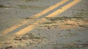 Debris covers roads in Salisbury.