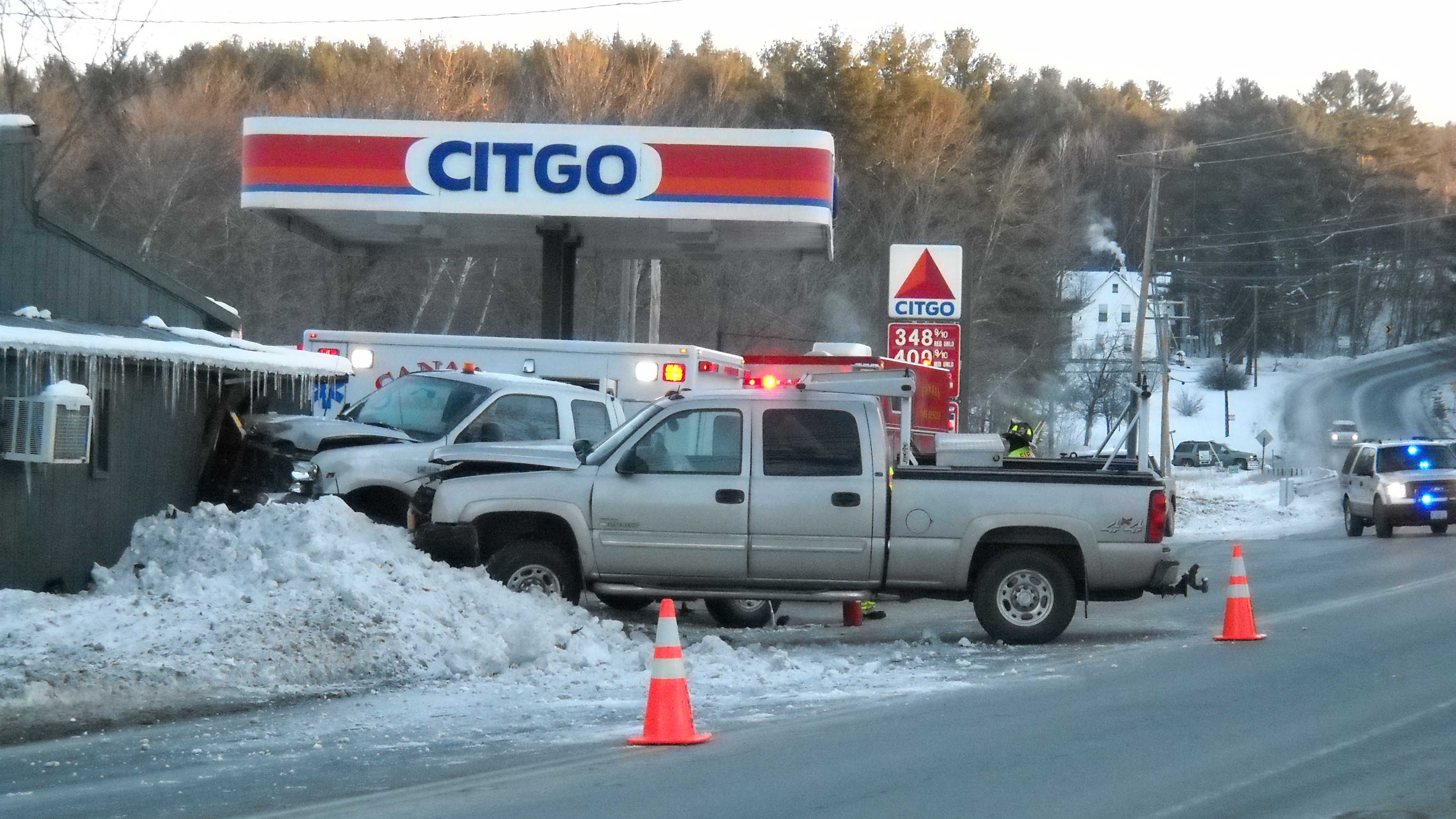 A motorist and a store clerk were injured when two trucks crashed on Route 4 in Canaan, New Hampshire Thursday morning, causing one truck to careen into the Pleasant Valley Store.