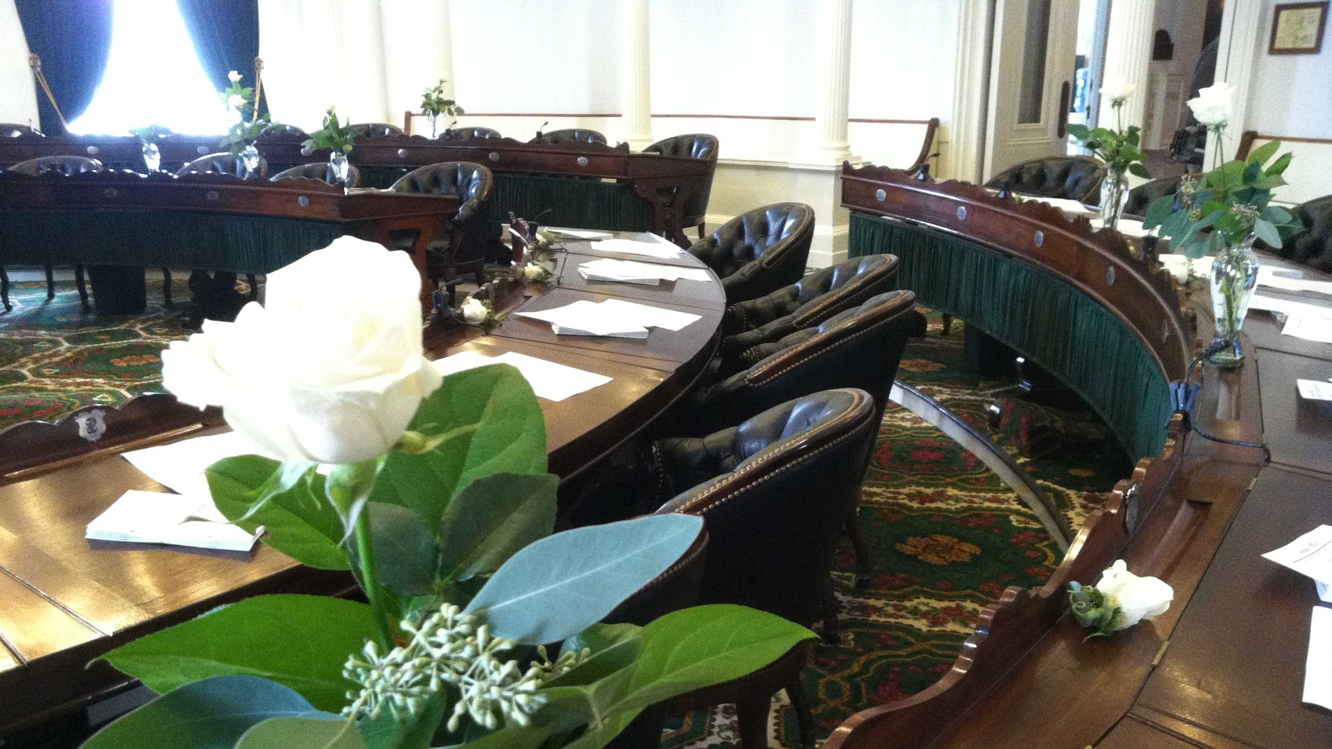 Single white roses greet senators at start of opening day.