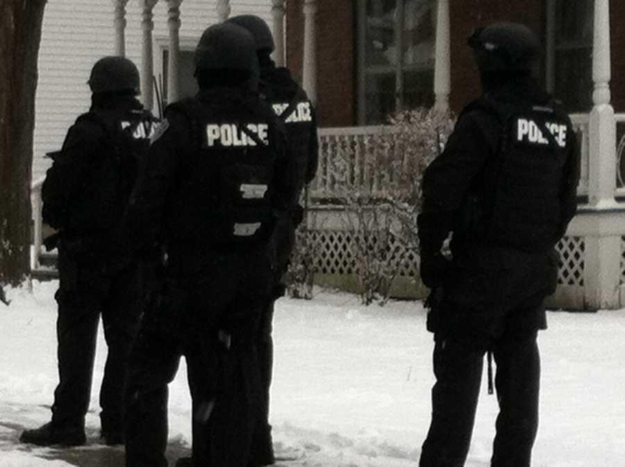Authorities close Pleasant Street in Bennington, Vermont on Wednesday.
