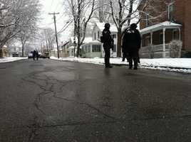 Authorities close Pleasant Street in Bennington, Vermont on Wednesday.