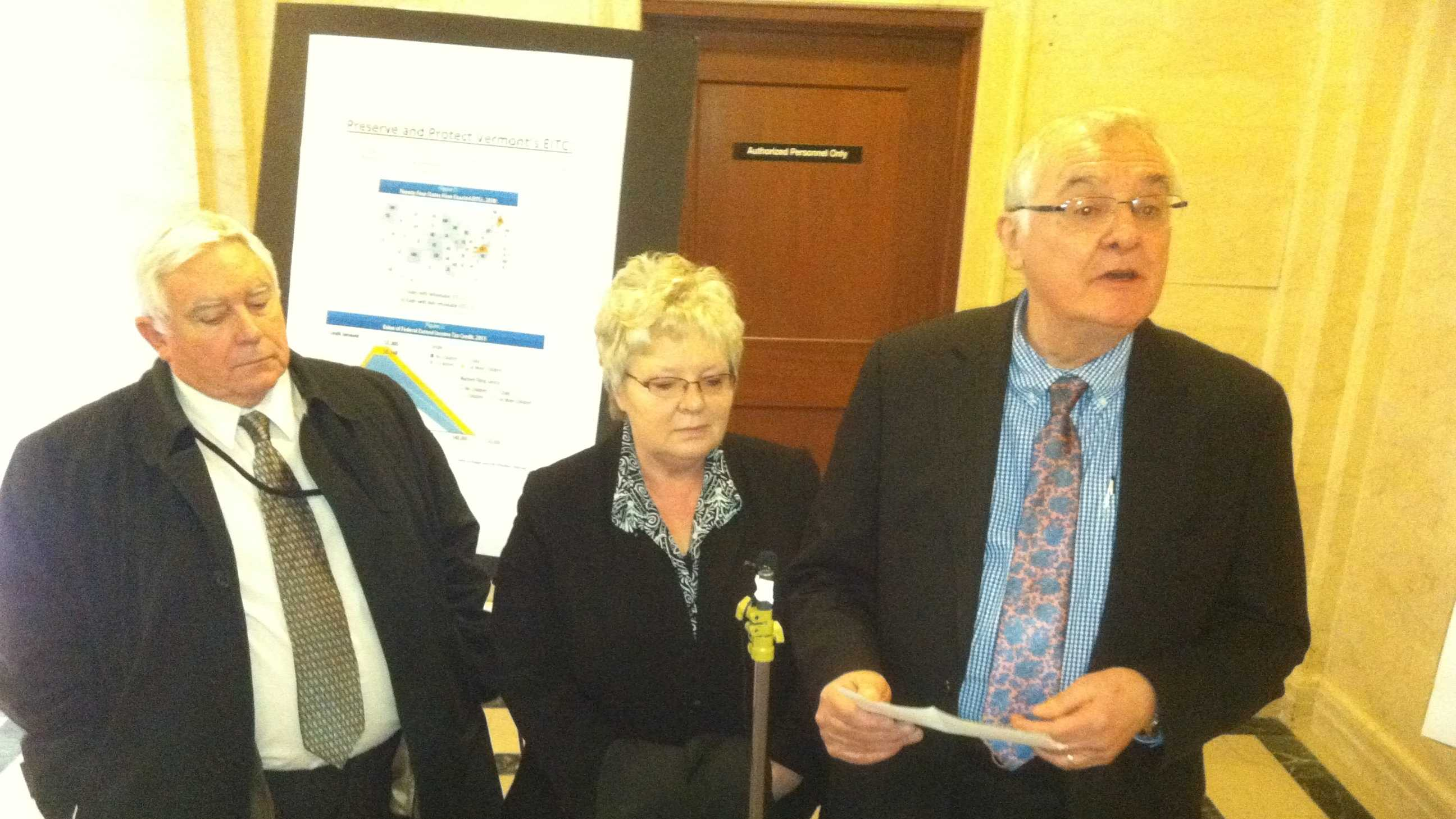 Reps. Topper McFaun (D/R-Barre), Susan Hatch Davis (P-Washington) and John Moran (D-Wardsboro) criticize any EITC cut.