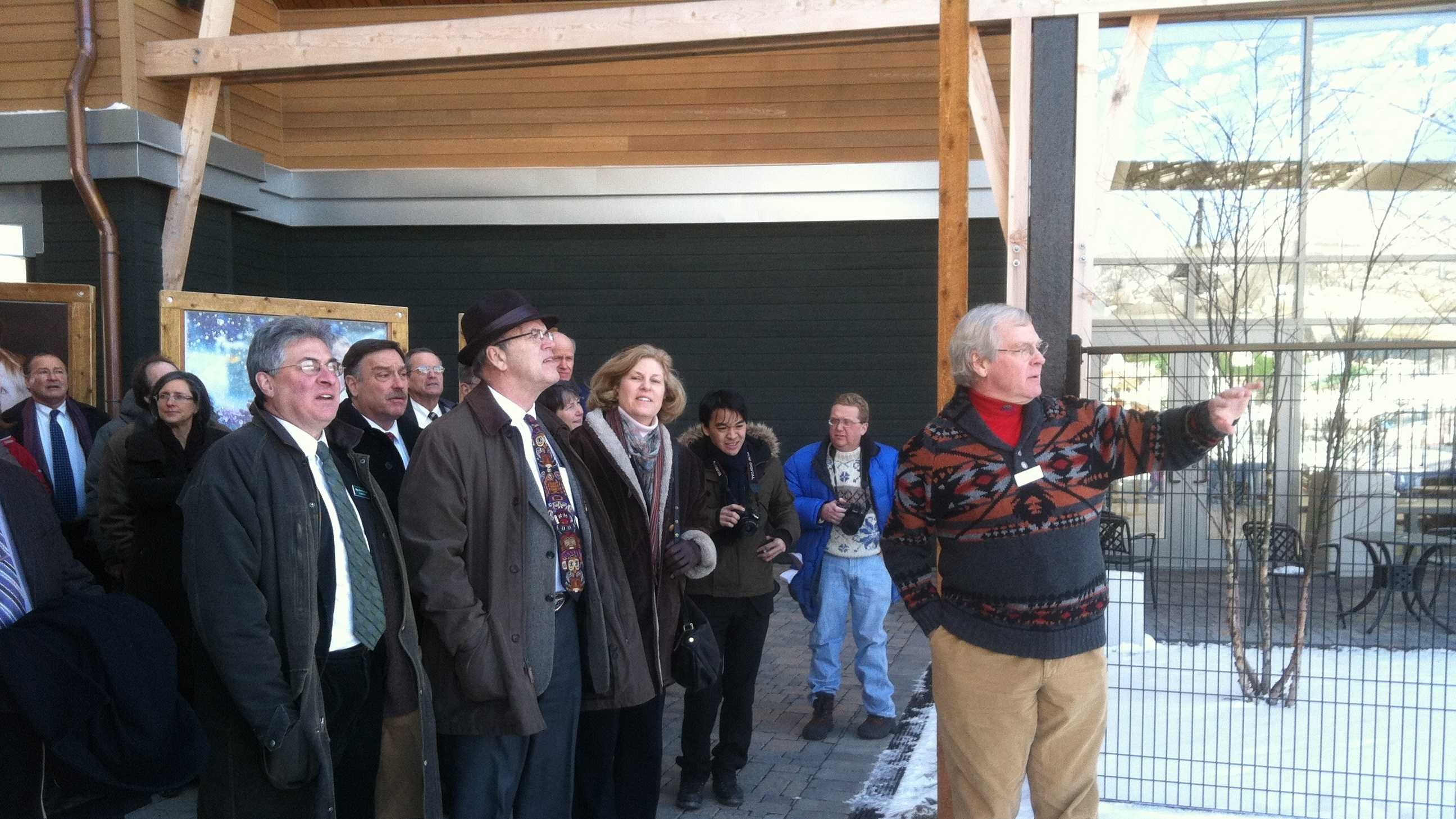 Jay Peak President Bill Stenger shows visiting state lawmakers some of the first rate amenities he's added since 2008 thanks to $275 million in EB-5 investment capital.