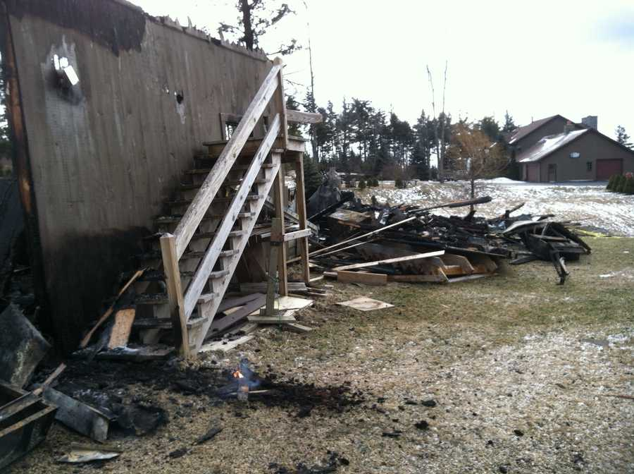 A fire destroyed a two-story garage in Lebanon, New Hampshire on Tuesday. There were no injuries related to the hard-to-fight fire.