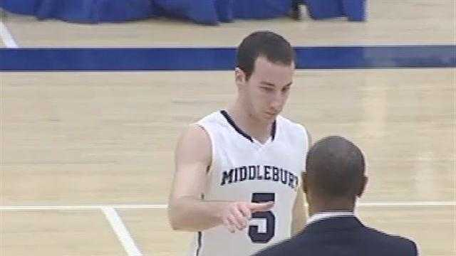 Middlebury basketball sweep, and Jake Wolfin knocks down a milestone in the guys win over Lyndon State.