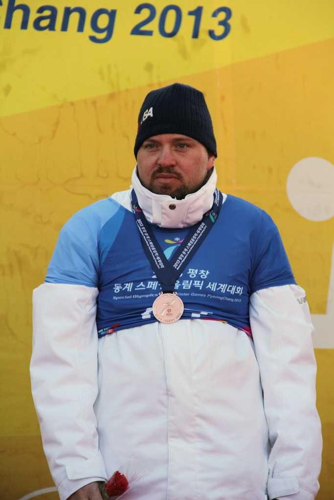 Larry Strobridge took the gold medal in snowboarding at the 2013 Special Olympics World Winter Games held in South Korea.