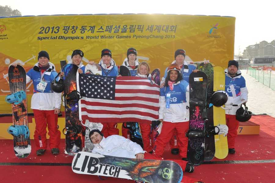 Larry Strobridge on the podium with his Special Olympics Team USA snowboarding squad