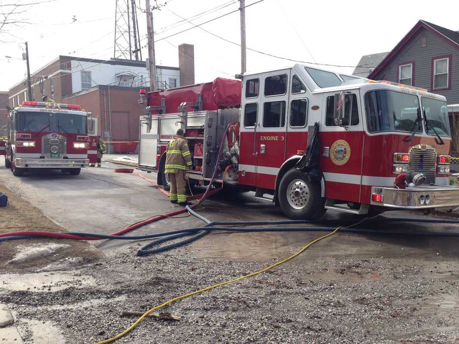 Fire crews respond to a fire at a gun shop in Rutland.