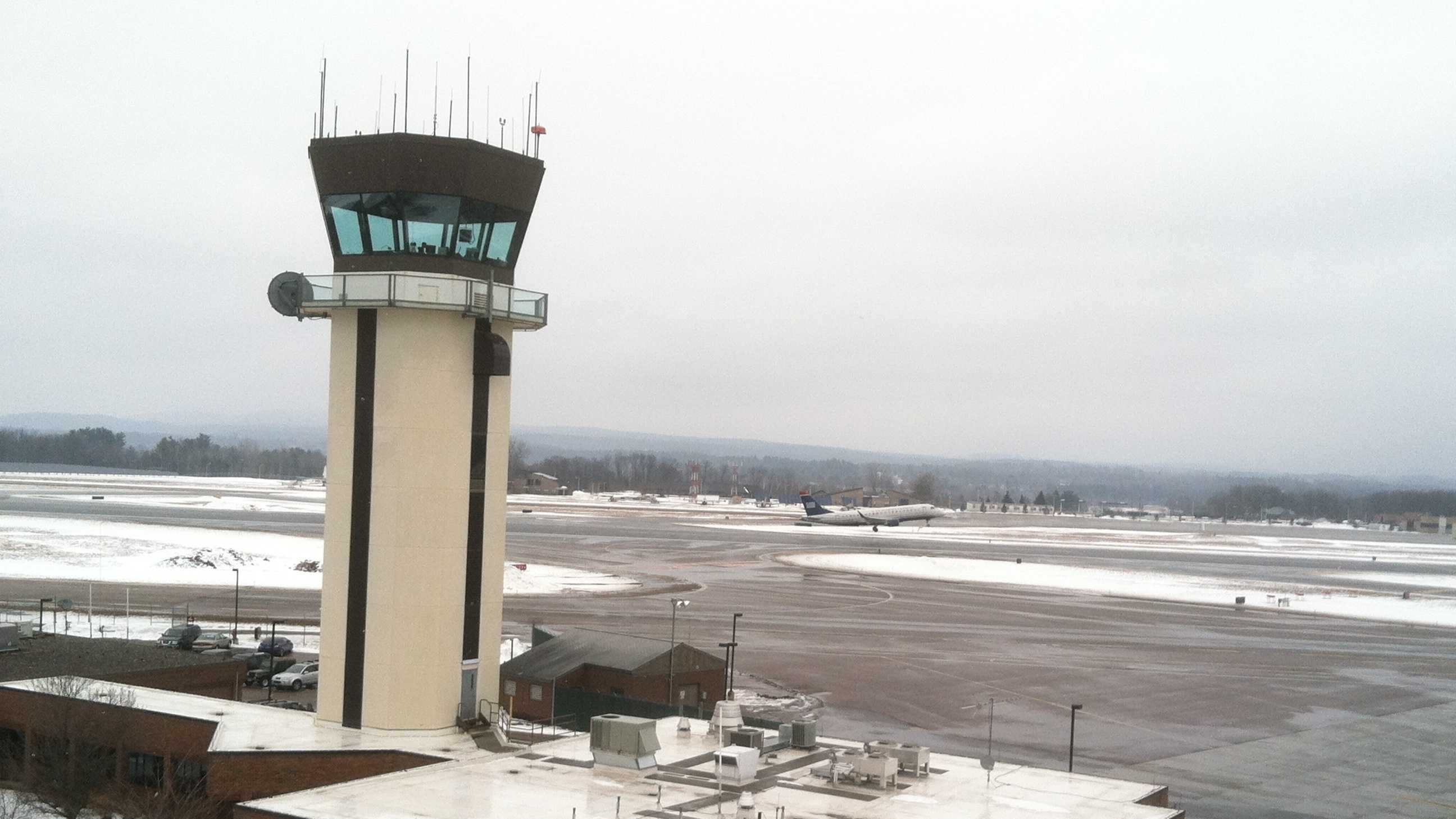 FAA control tower staff watch as a US Airways jet departs BTV Monday.