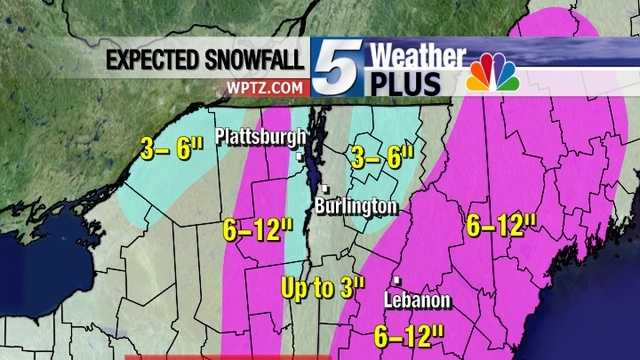 Expected snowfall Wednesday through late Thursday