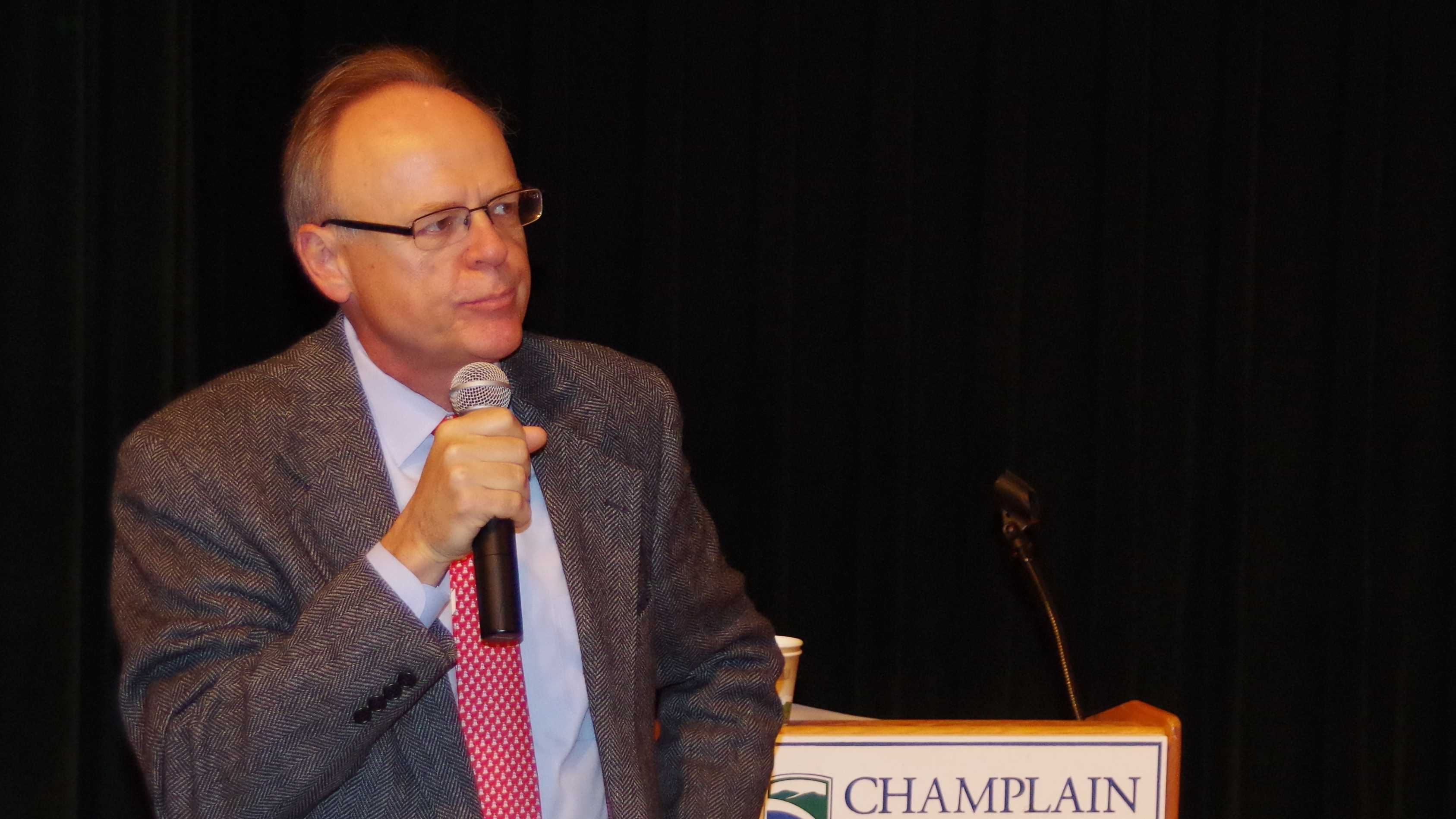 Champlain College President David Finney addresses a school assembly Monday morning.